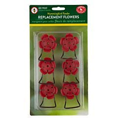 Perky-Pet® Replacement Red Hollyhock Flower Feeding Ports and Perches - 6 Pack