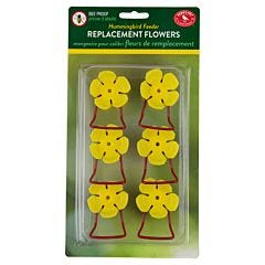 Perky-Pet® Replacement Yellow Hollyhock Flower Feeding Ports and Perches - 6 Pack